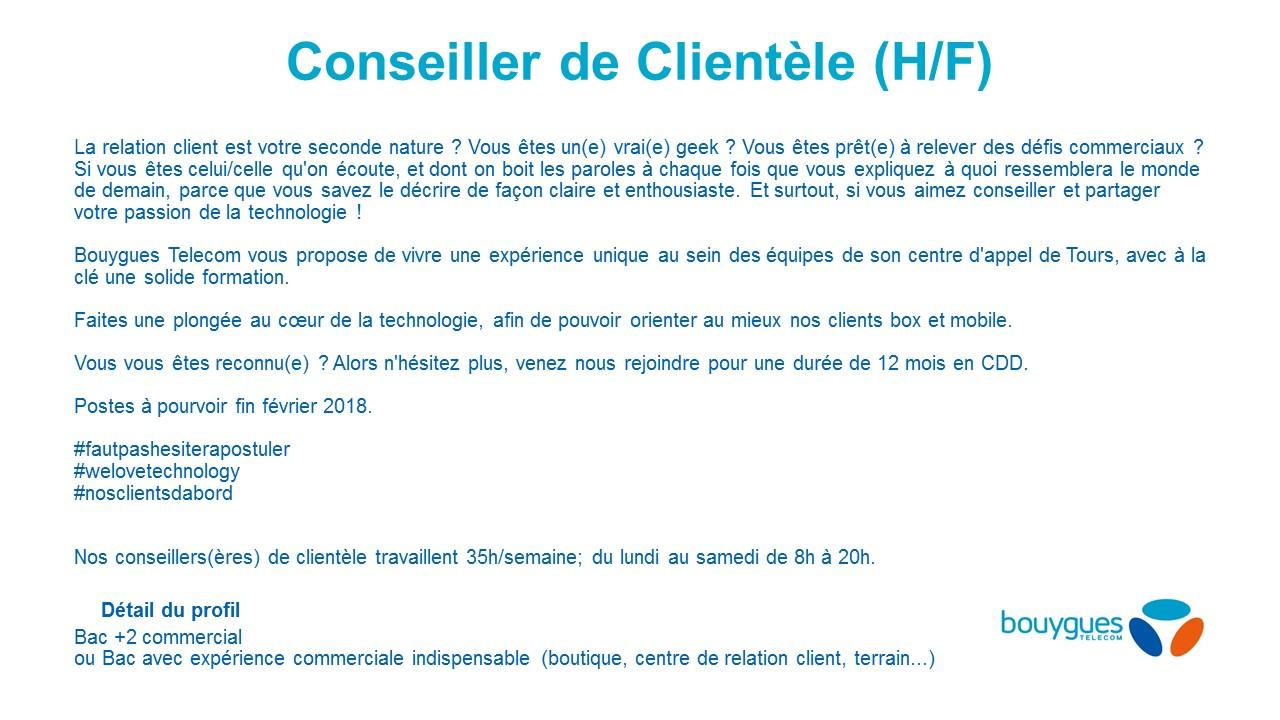 Offre Conseiller Clientèle Bouygues Telecom Tours