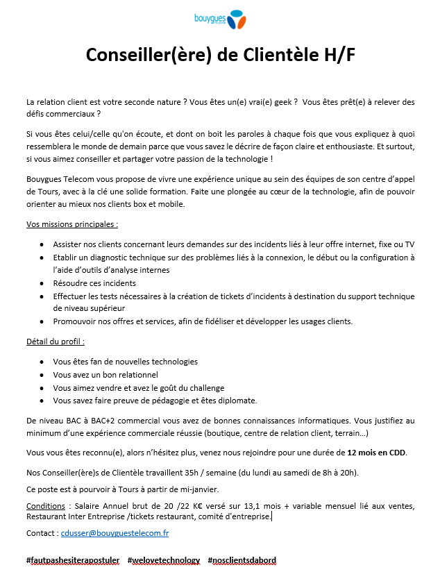 Offre recrutement CDC janvier 2019