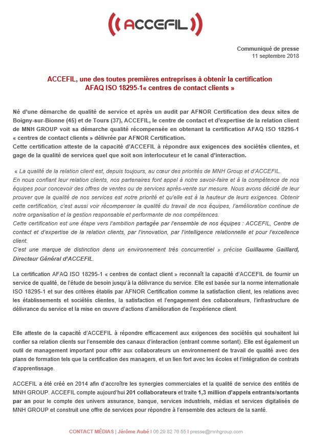 CP ACCEFIL certifié AFAQ ISO 18295-1