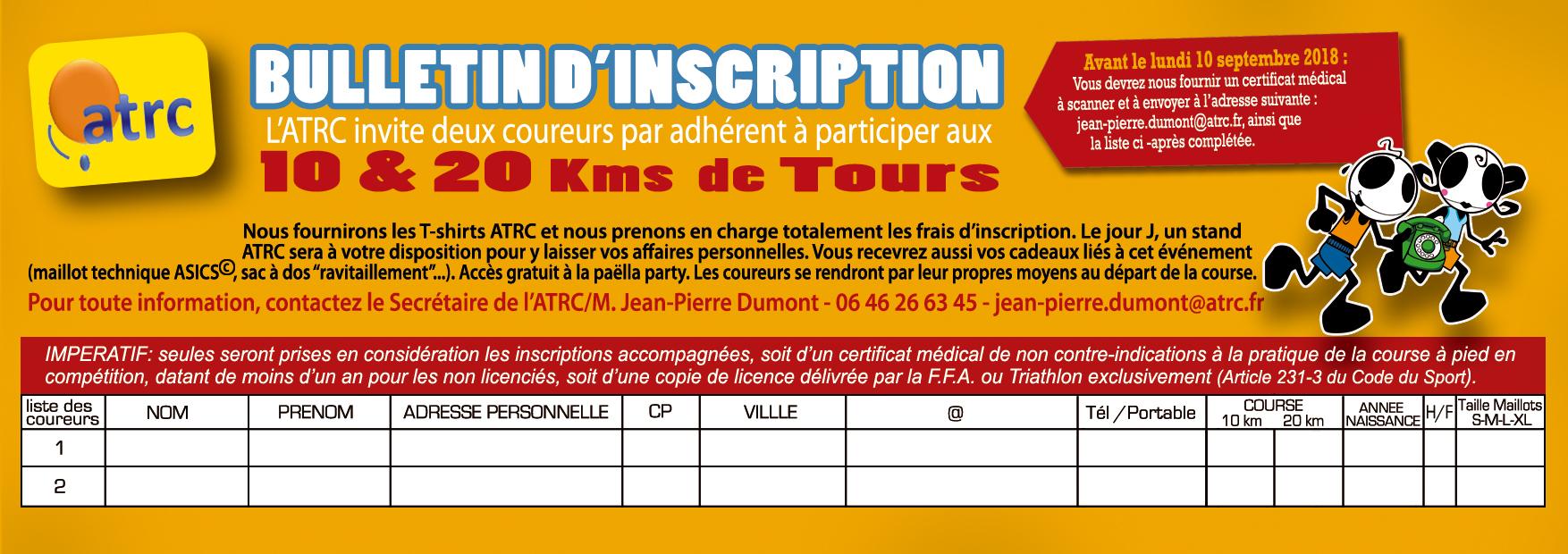 bulletin d'inscription 10&20kms de Tours ATRC 2018